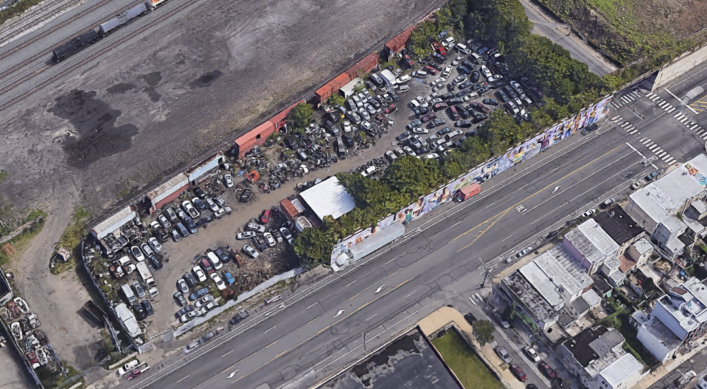 Aerial view of 2157 E. Lehigh Ave. with freight tracks to the north