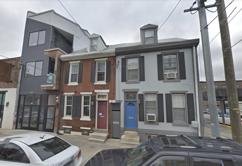 The two houses that stood at 1144-46 Frankford Ave. in Fishtown before the fire