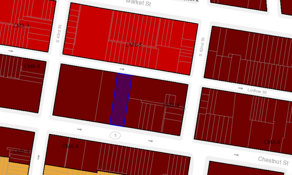 4219-23 Chestnut St. zoning map