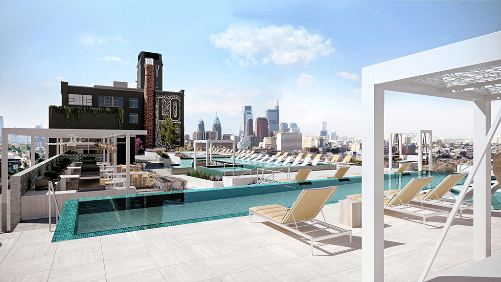 The rooftop at The Poplar rendering